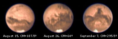 Three images of Mars 2003